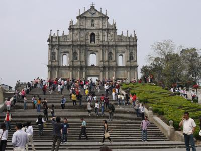 Landmark church facade in Portuguese Macau