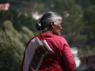 Lady in Ooty's rose garden