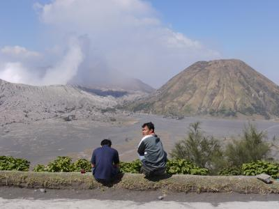 Bromo volcano (left) from the hotel