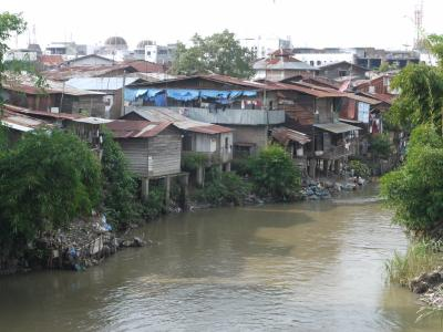 Slum on the river in Medan