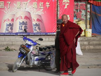 Red Bull monk near Gyantse monastery in Tibet