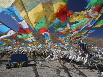 Prayer flags at the Tola pass near Tingri, Tibet