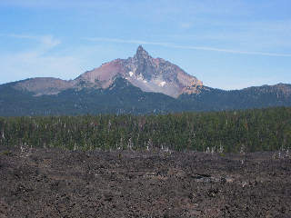 Cascade mountain pass with lava field, Oregon