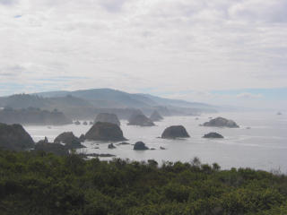 Sea stacks in the fog on the California coast