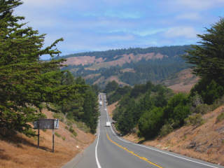 Roads in the hills near the California coast