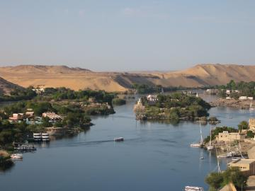 View of Elephantine Island and Aswan from the Nubian 	 restaurant