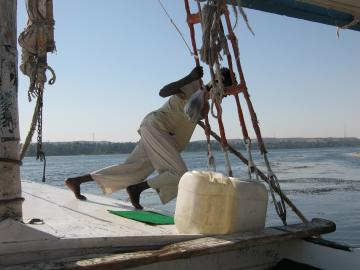 Sailing on a felucca from Aswan to Kom Ombo