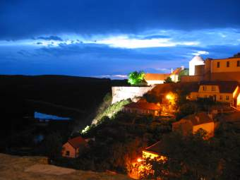 Hill in Znojmo at night