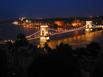 Budapest: bridge at night