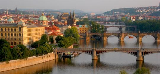 Vltava bridge panorama in Prague