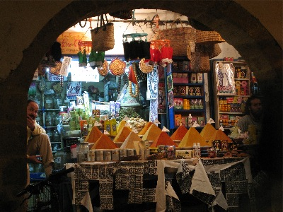 Spice vendor in Essaouira's souq