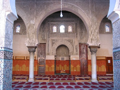 Prayer hall in the medersa in Fès