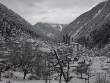 View of the village in the snow