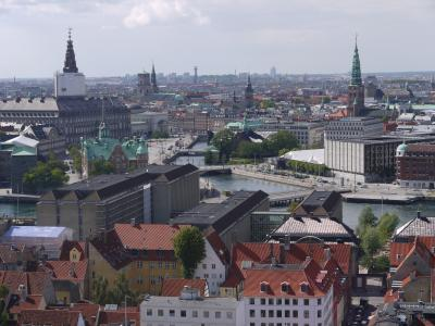 View from the top of Vor Frelsers Kirke in Copenhagen