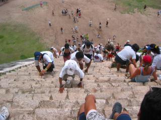 Steep stairs of the main pyramid at Chichen 	Itza, Mexico