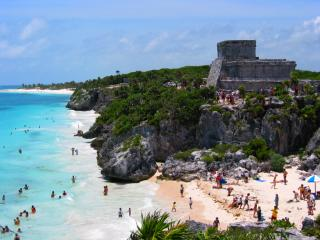 Tulum ruins at the beach, Mexico