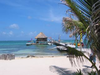 Beach with pier on Caye Caulker, Belize