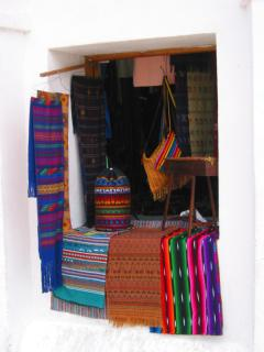 Colorful cloth on sale, Flores, Guatemala