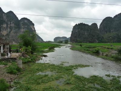 Mountains surrounded by rice paddies in Ninh Binh