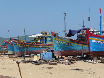 Fishing boats on the beach of Qui Nhon