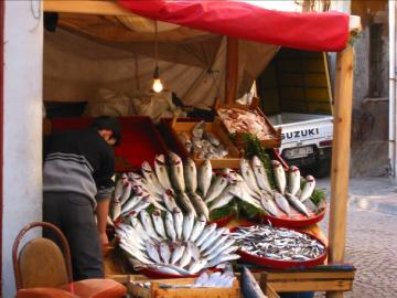 Fish vendor in Asian part
