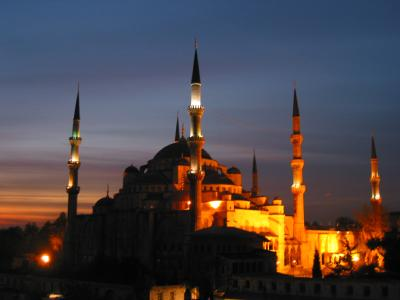 Blue Mosque at night