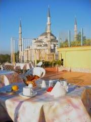 View from hotel terrace on the Blue Mosque
